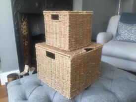 Two Rattan storage Baskets