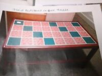 Retro tiled red/teal coffee table