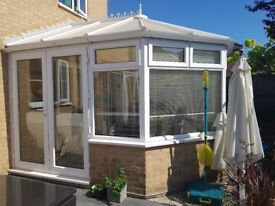 3.5m by 3m White UPVC Conservatory - 3 Bell Victorian Style
