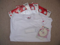 NEW 19 men's white cotton short-sleeve/round neck LED t-shirts S, M, L & XL. £25 ovno lot/£2 ea