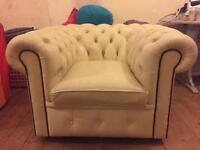 Chesterfield two seater & tub chair
