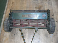 "Gang mower, Dennis, Guildford Minor, single unit. 24"" cut, 31"" across wheels."