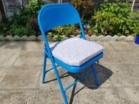 Solid Metal Folding Chair Plus Fitted Floral Cushion