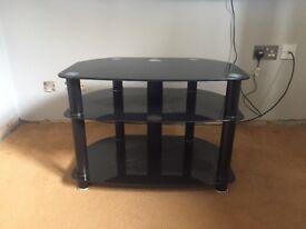 Black corner tv stand