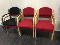 Office work staff room padded wooden arm chairs