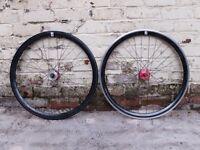 NO LOGO bicycle bike Single Speed wheels wheelset Fixie 700c flip-flop hub 18t Black Red £20 ONO