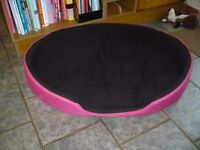 Extra large Pink-Black padded Dog bed good condition