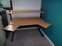 Sturdy two-tier computer table. Main desk area 110x74 cm. Fully adjustable to diff heights. Vgc.