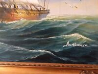 Large Framed Ship Canvas Art Picture