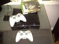 xbox 360 slim 250gb 2 pads 3 games