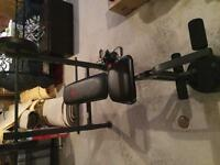 Workout bench with leg press