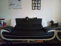 Black and white sofa and armchair - excellent condition