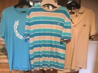 FRED PERRY X 3 tops ( 2 x tees & 1 x polo ) £10 each or 3 for £20. IMMACULATE & CLEAN CONDITION.