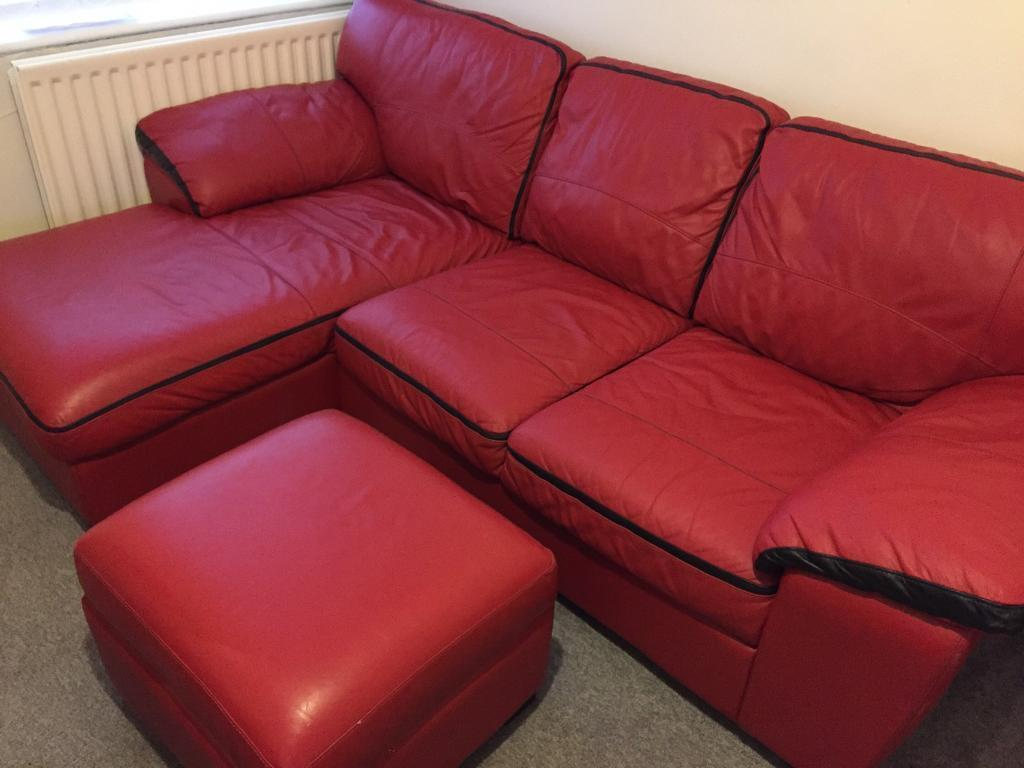 Dfs Red Leather Corner Sofa And Storage Box In Newcastle Tyne Wear Gumtree