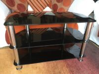Black Tempered Glass Television Stand