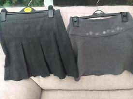 Girls School Skirts Grey age 8-9 x 2 Excellent Condition