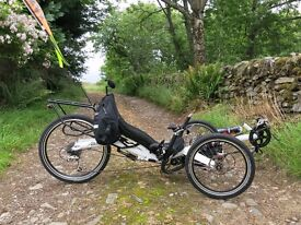 "Challenge Alize 24"" recumbent tricycle - as new condition. High spec, comes with many extras"