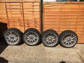 "Genuine BMW mv1 sport 18"" staggered alloy wheels 225/40 255/35 tyres e36 e46 3 series"