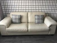 Violino cream leather 3 and 2 seater sofas