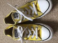 Yellow converse shoes size 3.