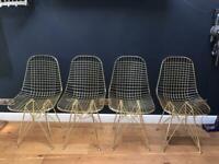 Gold wire 'Eiffel' chairs x 4