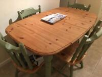 Pine and waxed table and chairs