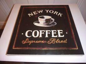 "JOHN LEWIS NEW YORK COFFEE CANVAS ART PRINT 15.5 x 15.5"""