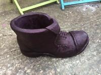 Solid stone boot garden planter pot
