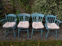 shabby chic distressed chairs with cushions
