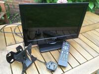 "Small TV + Wall Bracket & Stand. Luxor 16"" incl. remote & wall mounting bracket. VGC fully working"