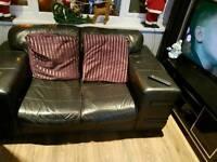 3&2 black leather sofas