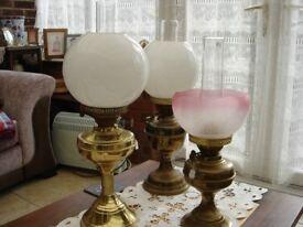 two victorain brass oil lamps