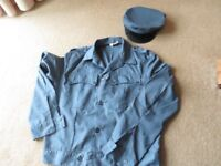 Fancy Dress, Mens Uniform Jacket & Hat, Airforce Blue, Chest 45 inches.