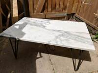 Reclaimed marble coffee table