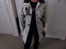 St Martin's Lady's Monochrome Embroidered Coat Size M
