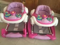 2 X pink car rocker/ walkers