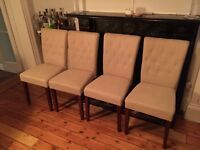 4x Made Flynn dining chairs biscuit with dark brown legs rrp £300