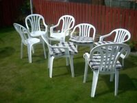 UPVC CHAIRS , 7 OF 3 small / 4 large . can deliver locally . thornton .