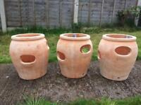 Strawberry / herb garden plant pots terracotta