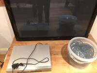 £10 Denon DVD player, Fujitsu Plasma Panel and bucket of cables