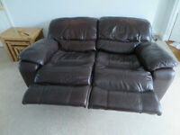 Large Brown Leather Electric Recliner Sofa - Excellent Condition -£100!