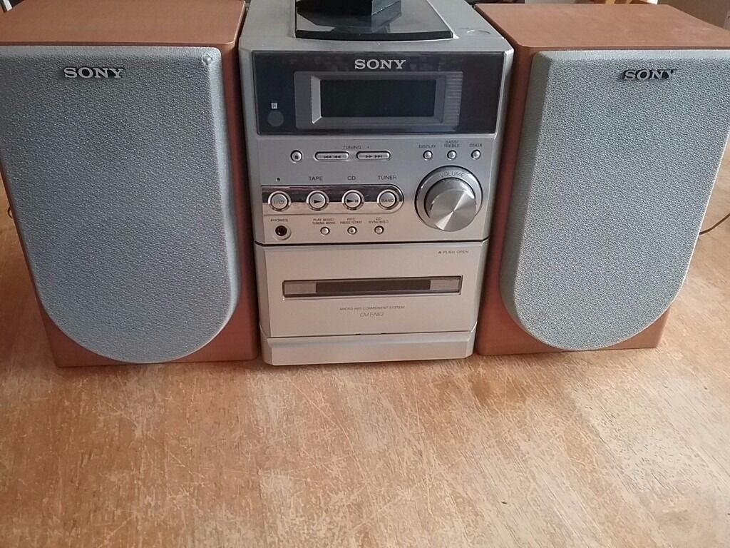sony mini hifi cd player tape deck and radio with 2. Black Bedroom Furniture Sets. Home Design Ideas