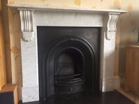 Victorian Style Carrara Marble Fire Surround and Cast Iron Fireplace