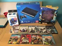 PlayStation PS3 Super Slim 12GB Boxed 2 Controllers, PS Move and Eye Camera 9 Games + Book of Spells