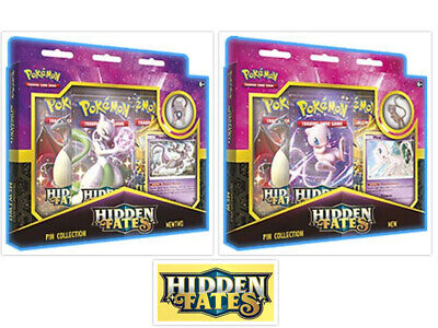 Pokemon Hidden Fates Mew & Mewtwo Pin Collection Bundle 2 Boxes TCG PRESALE