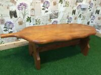 BEAUTIFUL SHAPED COFFEE/ LOUNGE/CONSERVATORY TABLE IN ASH, THICK TOP OF 3CM, SOLID AND STURDY