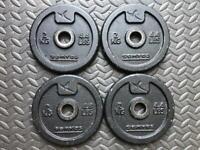 "Domyos 2kg x 4 cast iron weight discs 1"" hole"