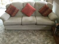 Three piece suite, sofa and two armchairs