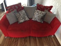 Red chaise sofa set