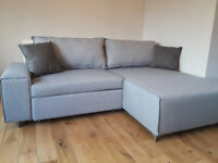3 months old corner sofa bed Mayne right hand grey MADE(.)COM brand / free delivery